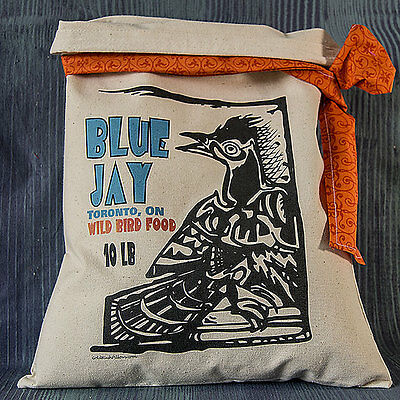 "PRIMITIVE FLOUR SACK Vintage Rustic Feedsack Country ""Blue JaY"" Folk Art Birds"