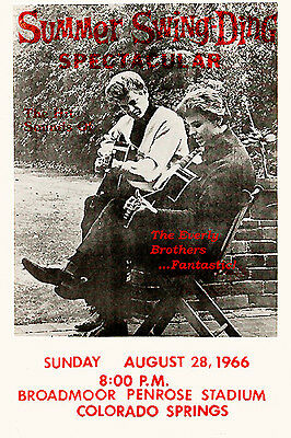 Early Rock & Roll: The Everly Brothers at Colorado Springs Concert Poster 1966