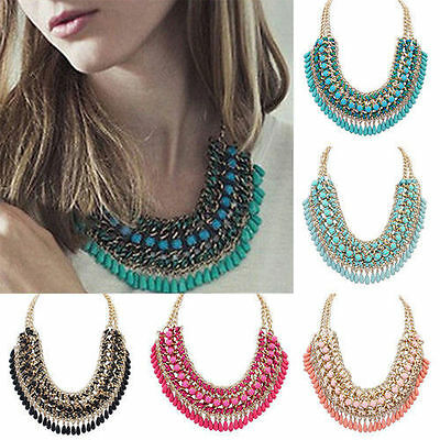 Hot Fashion Jewelry Pendant Chain Crystal Choker Chunky Statement Bib Necklaces