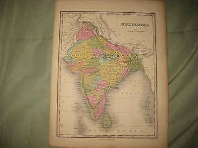 Important Antique 1824 Hindoostan India Finley Handcolored Map Islands Ceylon Nr