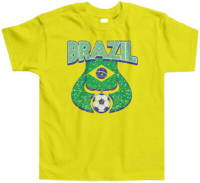 Brazil Soccer Ball Kids Toddler T-Shirt Tee World Cup Football Team Pride Ethnic
