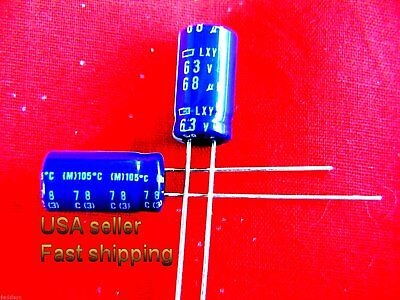 Nichicon 68uf 68ufd 63V Volt 105 Degree Hi Temp Radial Electrolytic Capacitor