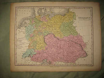 SUPERB ANTIQUE 1824 GERMANY FINLEY HANDCOLORED MAP AUSTRIA PRUSSIA POLAND RareNR