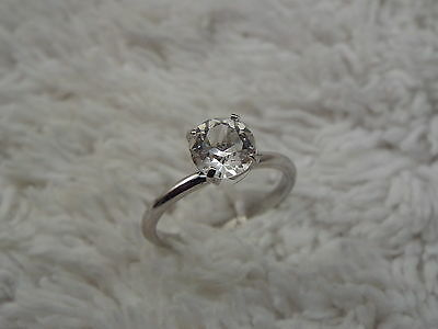 Silvertone Rhinestone Engagement Style Ring - Size 7  (D79)