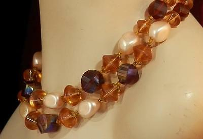 Sooo Pretty W.Germany Signed Vintage 1950s Fall Color Lucite Necklace  465S4