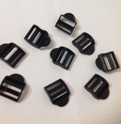 10 x 25mm Contoured Curved Plastic Ladderlock Buckles