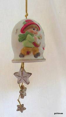 """Vintage Christmas Bell Drummer Boy and Sheep 13"""" Hanger to Dangling Stars Bisque"""
