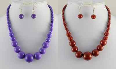 Graduated Purple Or Dark Red Necklace & Earrings Set