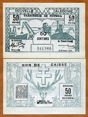 New Caledonia, 50 Centimes, P-54, 1943 WWII, Scarce in UNC