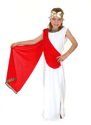 Girls White Red Goddess Greek Roman Toga Week Costume Outfit New Ages 4-6-8-10