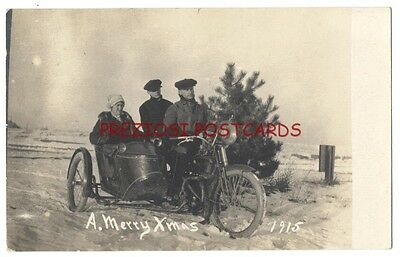 RPPC - MOTORCYLE & SIDECAR in SNOW. MERRY XMAS 1915 with Tree DENVER CO