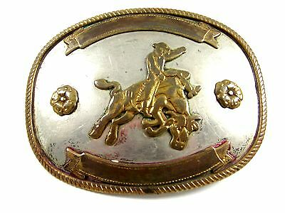 Western Cowboy Rodeo Bull Rider Nickel Silver Belt Buckle Unmarked 111014