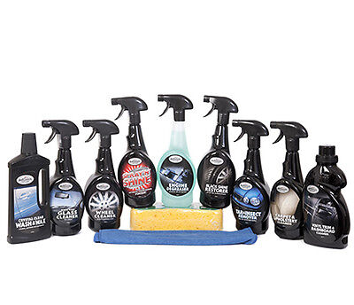 Complete 11 Piece Car Cleaning Valeting Kit - Includes Sponge & Microfibre Cloth