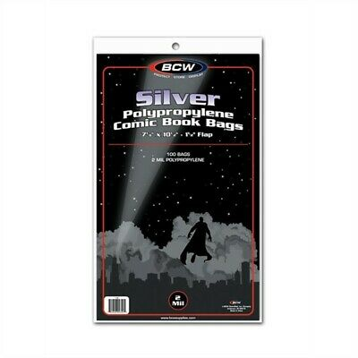 200 BCW NON-RESEALABLE Silver Age Comic Book Poly Bags + Acid Free Backer Boards