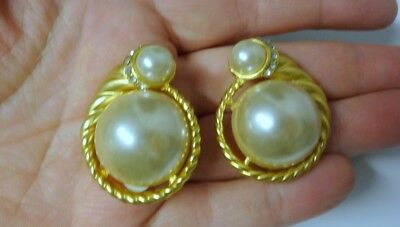 Runway Haute Couture Chunky Faux Cabochon Pearls Rhinestoe Clip On Earrings