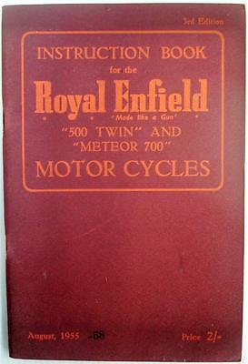 ROYAL ENFIELD TWIN - Original Motorcycle Owners Handbook - 1955 - #447/ 1/2M.757