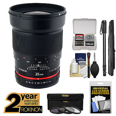Rokinon 35mm f/1.4 Aspherical Wide Angle Lens for Sony Alpha E-Mount Cameras Kit