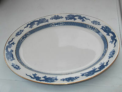 1906 + BOOTHS SILICON CHINA LARGE OVAL PLATTER BLUE DRAGON  PATTERN TO RIM