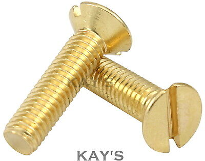 M3,m4,m5,m6 Solid Brass Machine Screws Slotted Countersunk Head Bolts. Free P&p