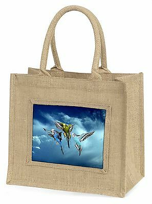 Budgies in Flight Large Natural Jute Shopping Bag Birthday Gift, AB-96BLN