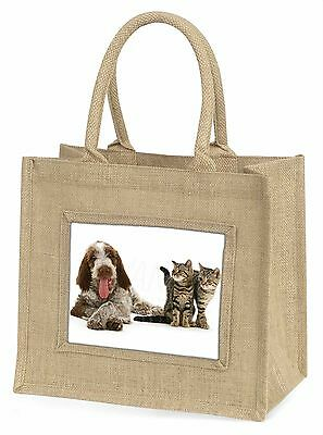 Italian Spinone Dog and Kittens Large Natural Jute Shopping Bag Birth, AD-SP1BLN
