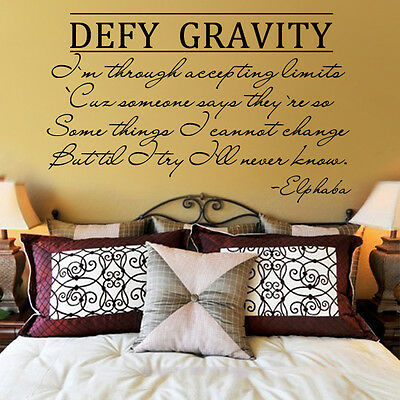 Inspirational Wall Decal Wicked Musical Defy Gravity Word Vinyl Removable Decor