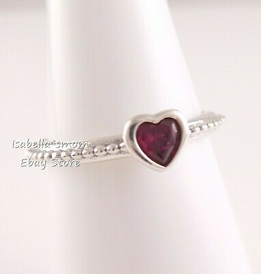 0b162477282a7 PANDORA RING ONE Love Red Synt Ruby Heart Size 52 190896SGR W Tag ...