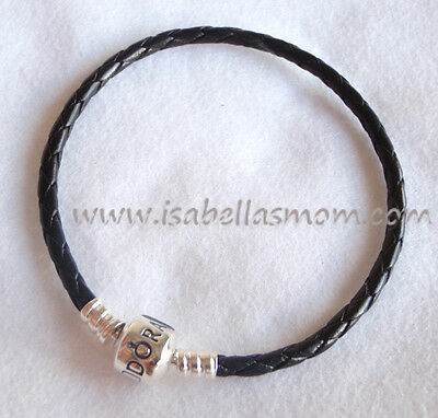 "NEW Authentic PANDORA Charms/Beads BLACK Leather/Silver BRACELET 8.1""~20.5cm"