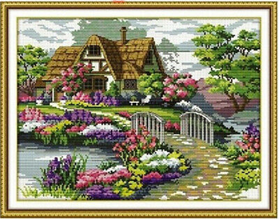 Needlework Countryside Flower Cross Stitch Kit Embroidery Kit Painting Print DIY