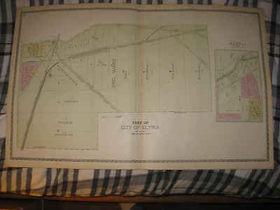 Set Of 3 Antique 1896 Elyria Lorain County Ohio Handcolored Map Large Detialed N