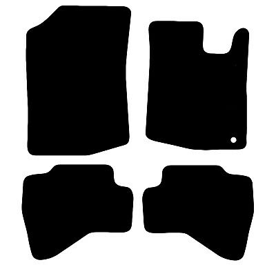 Peugeot 107 Tailored Black Car Floor Mats Carpets 4pc Set With Clips
