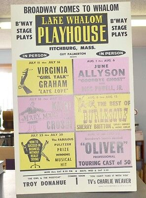 1960's Orig Window Card Lake Whalom Playhouse June Allyson Burlesque Oliver