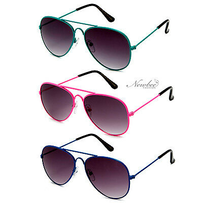 Kid's Spring Temple Aviator Style Fun Solid Color Sunglasses