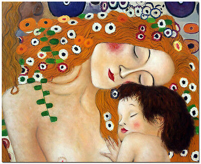 Mother and Child - Hand Painted Gustav Klimt Oil Painting on Canvas(Not Print)