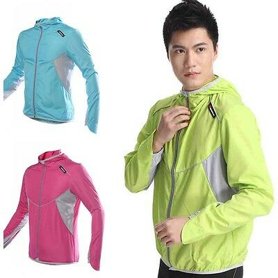 Sports Jersey Jacket Running Cycling Bicycle Windproof Long Sleeve Coat Hooded