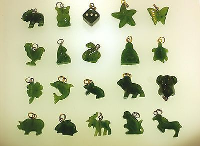 Carved Natural Canadian Nephrite Jade Animals Zodiac Miscellaneous Charm Pendant