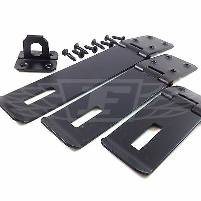 Heavy Duty Black Gate Security Safety Hasp And Staple Lock With Fittings