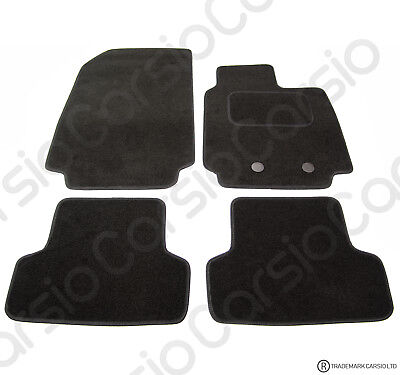 Renault Clio 2009 to 2013 Tailored Black Car Floor Mats Carpets 4pc Set W/Clips