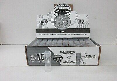 Box of 100 Whitman HE Harris Round Screw Top Coin Tubes Holder Dime 10 Cent 18mm