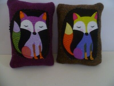 Harris Tweed Fox Pin Cushion  with Cotton Motif  in Organza Gift Bag  Brand New
