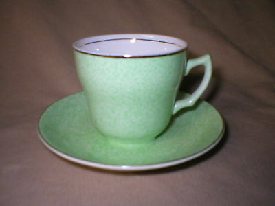 Vintage Wade Cup And Saucer   Lovely Green Speckled Glaze   Made In England