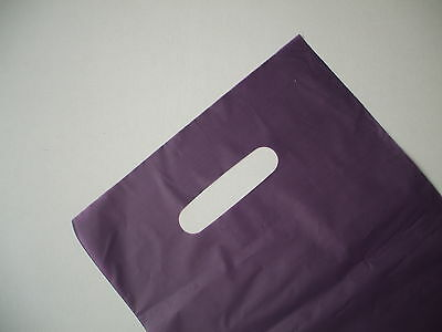 50 Plastic Die Cut Gift Fashion Carry Shopping Bags- Purple 330x230