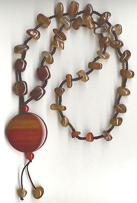 CARNELIAN BEAD KNOTTED NECKLACE WITH  PUFF ROUND PENDANT  NEW OLD STOCK ON SALE