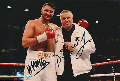 Hughie & Peter FURY Double Signed 12x8 Autograph Photo AFTAL COA Boxer RARE