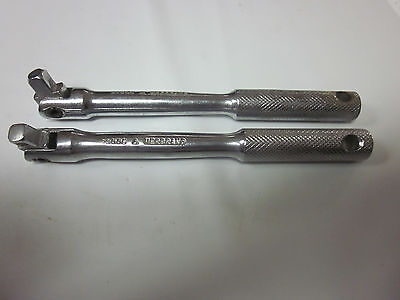 "2pc HERBRAND 1/4"" DRIVE FLEX HEAD BREAKER BAR 23006 USA EXTENSION RATCHET SOCKET"