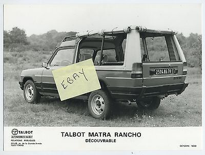 (36A) Rare Photo Presse Talbot Matra Rancho Découvrable