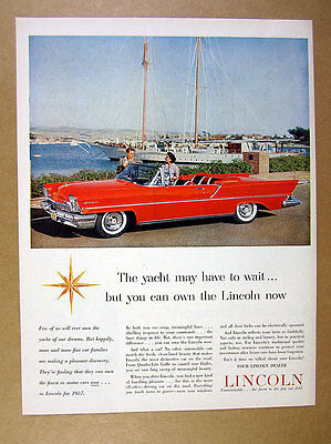 1957 Lincoln Premiere Convertible red car photo vintage print Ad