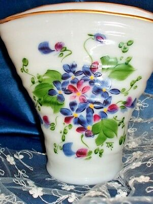 ANTIQUE Art Deco MILK glass FAN vase HANDPAINTED VIOLET