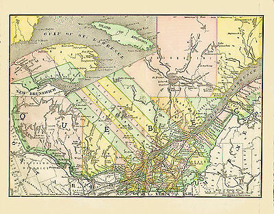 1890 Color Map of QUEBEC - Much different County Structure - Original