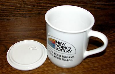 Vintage New York State Lottery Collector Ceramic Coffee Cup/Mug with Lid RARE